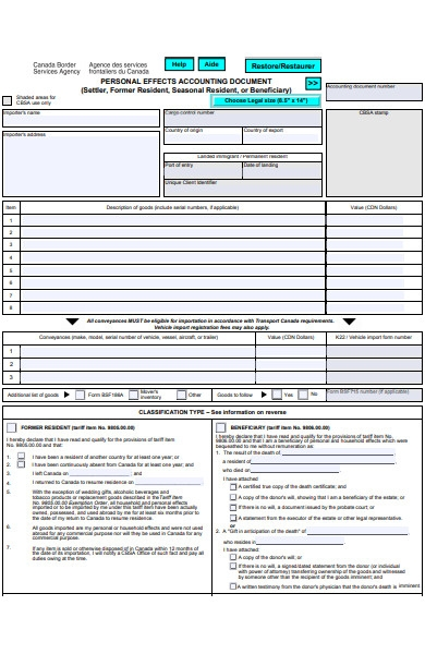 personal effects accounting document form