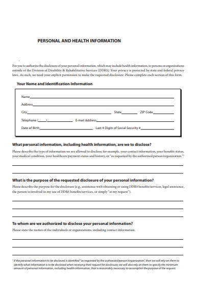 personal health information form