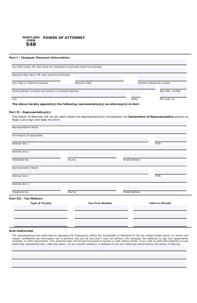 personal information power of attorney form