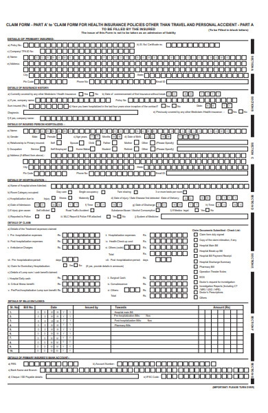 personal insurance claim form