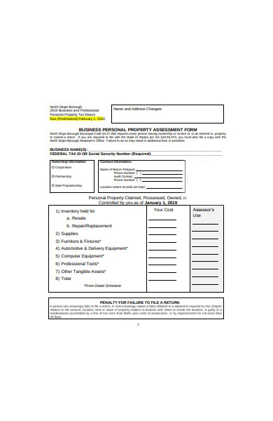 personal property assessment form