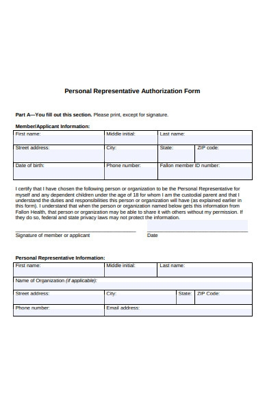 personal representative authorization form