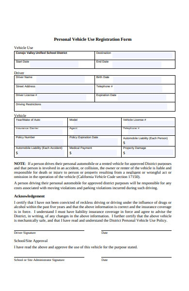 personal vehicle use registration form