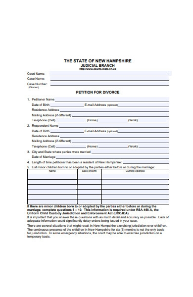 petition for divorce form