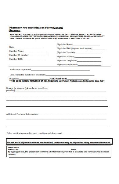 pharmacy pre authorization form