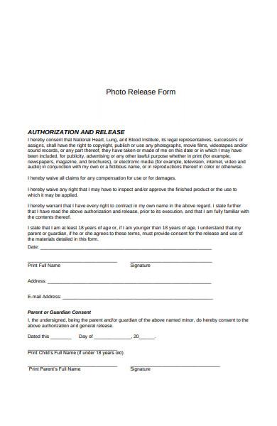 photo authorisation release form