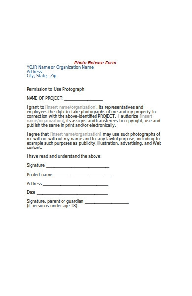 photo model release form