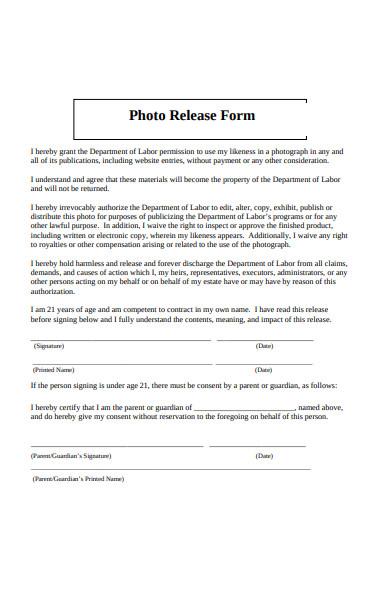 photo release attachment form