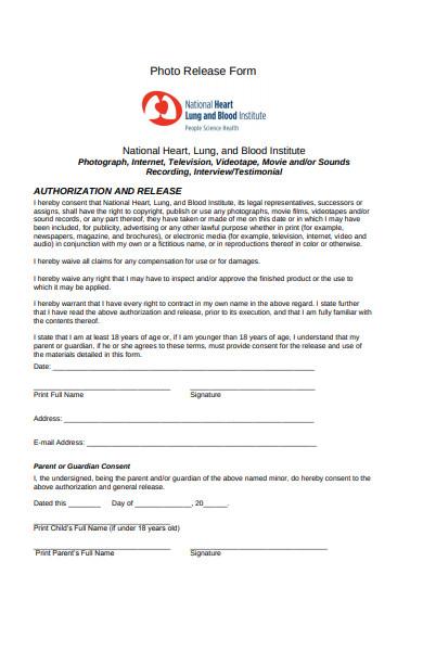 photo release authorisation form