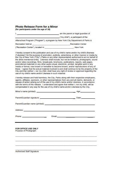 photo release form for minor