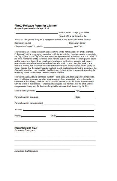 photo release form for a minor