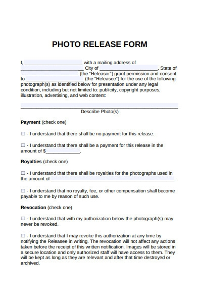 photo release payment form