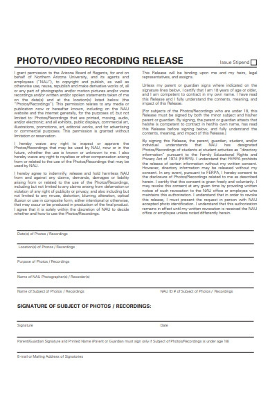 photo release recording form