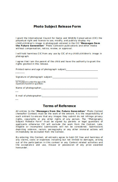 photo subject release form