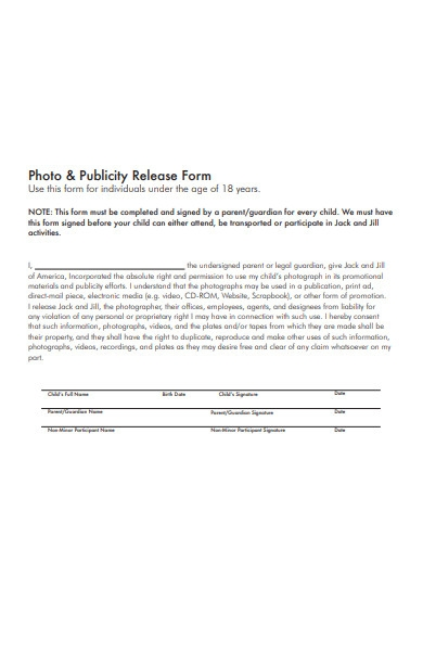 photo and publicity release form