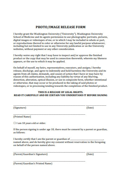 photo or image release form
