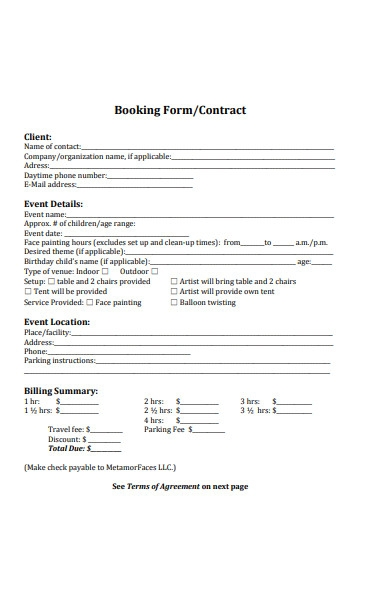 photography booking form sample