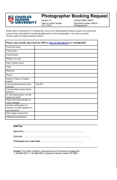 photography booking request form