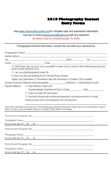 photography contest entry forms