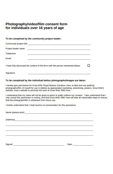 photography film consent form