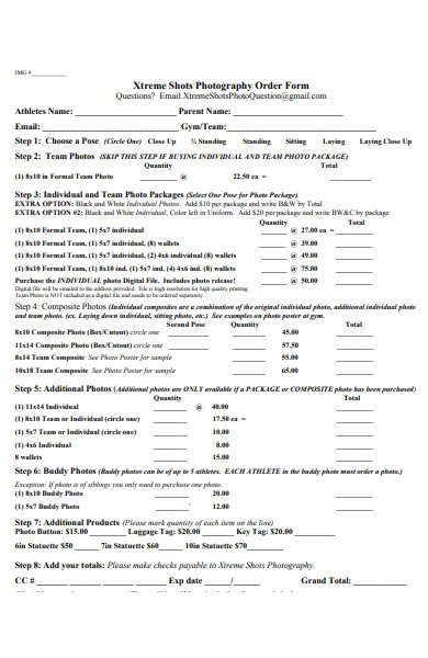photography order form1
