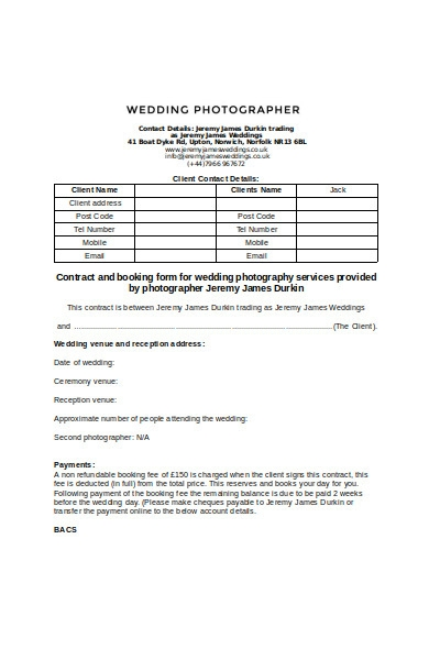 photography service booking form