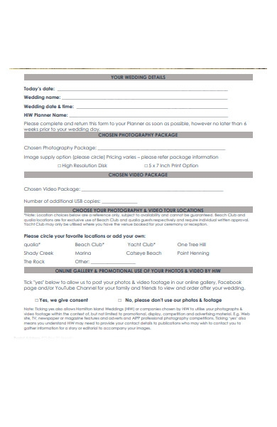 photography video booking form