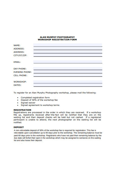 photography workshop form