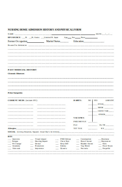 physical admission form