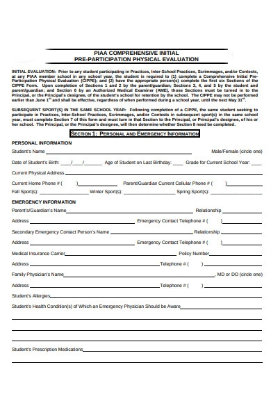 physical information form