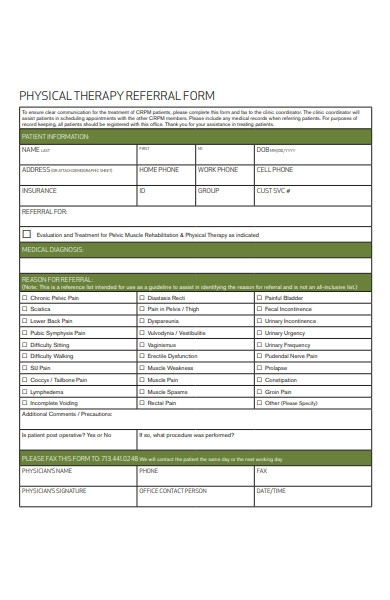 physical therapy referral form