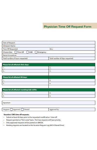 physician time off request form