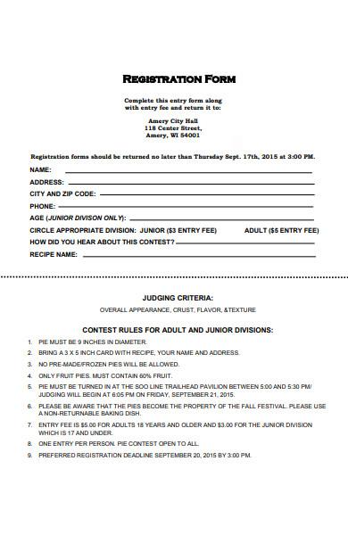 pie baking contest registration form