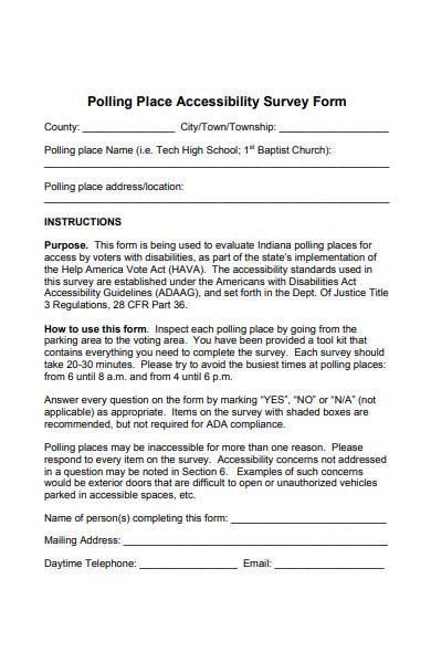 polling place accessibility survey form