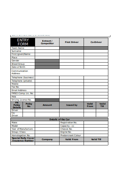 popular entry form