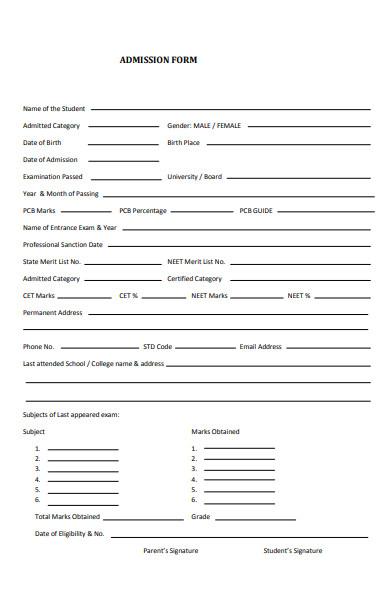 post graduate admission form