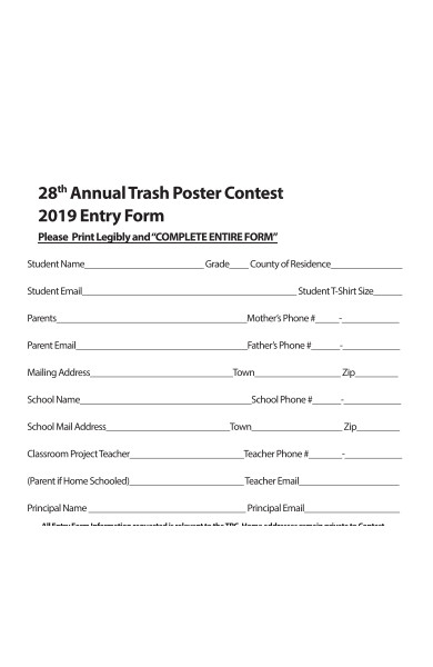 poster contest entry forms