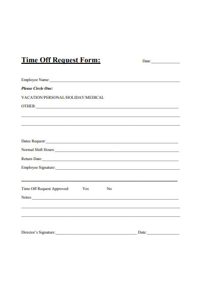 potential time off request form