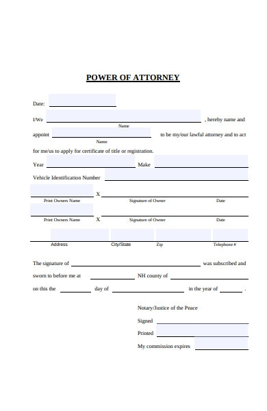 power of attorney acknowledgement form