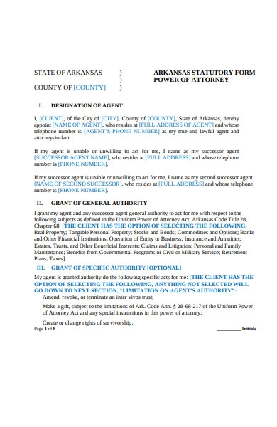 power of attorney information form