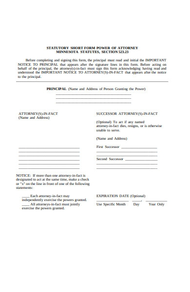 power of attorney notice form