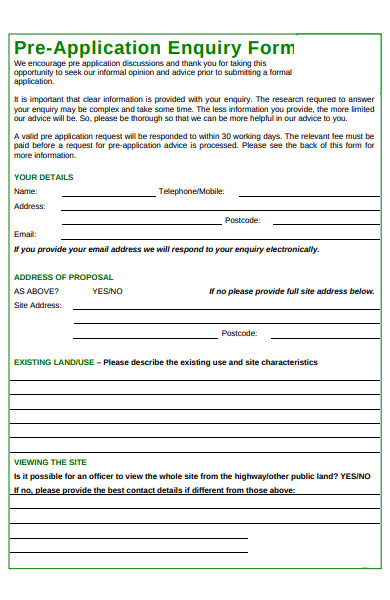 pre application enquiry form