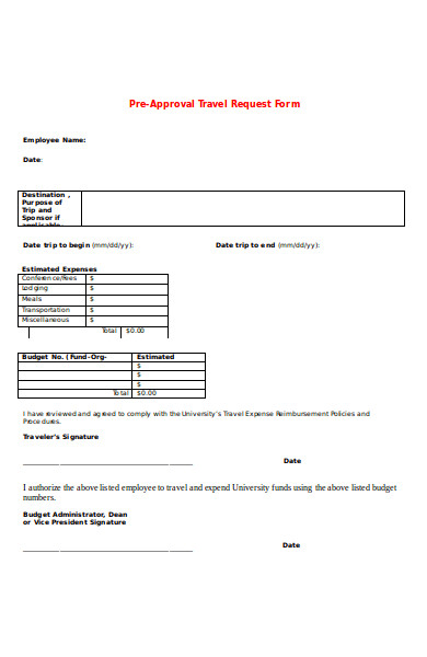 pre approval travel request form