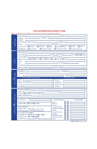 pre authorization form sample