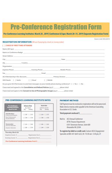pre conference registration form