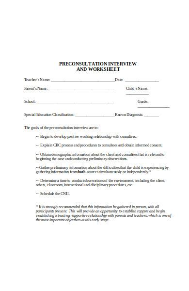 pre consultation interview form