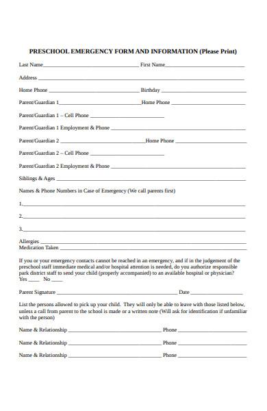 pre school emergency form