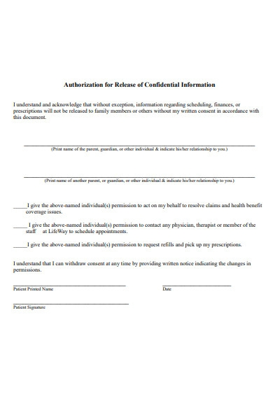 premarital authorization form