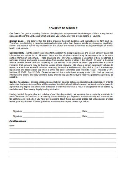 premarital consent to disciple form