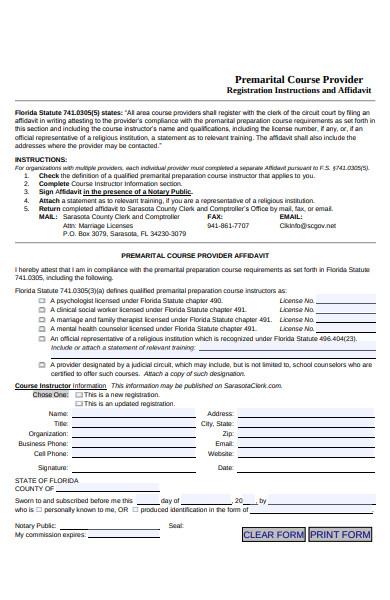 premarital course provider form
